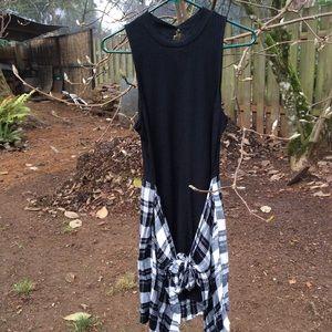 Material Girl dress tie over hem style  B&W